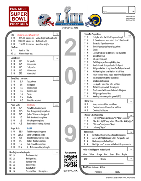 graphic about Printable Bowl Schedule identified as Tremendous Bowl Prop Wager Sheet (Get together Sport) Gridiron Specialists