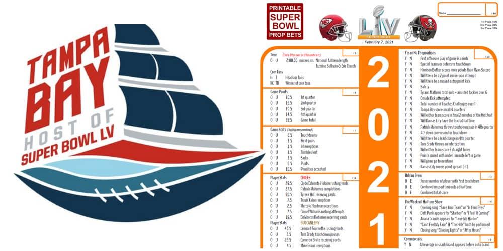 Super Bowl Prop Bet Sheet 1